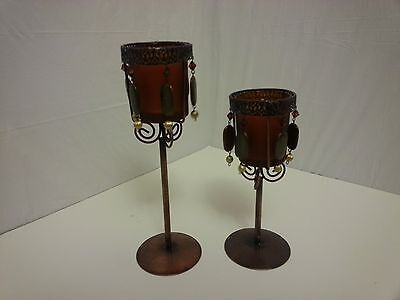 Stemmed Bronze and Rust Glass Candle Holder set of 2