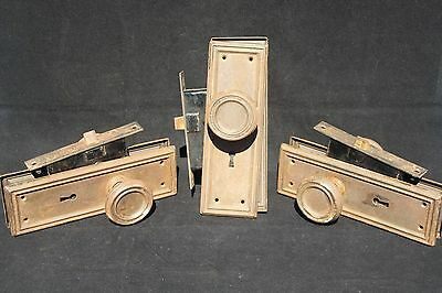 3 sets Antique Mission Arts Crafts Era Door Knob Pairs Backplates Mortise Locks