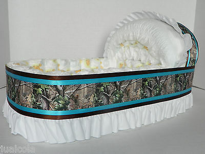 Boy Turquoise Camo Big Diaper Bassinet Gift Basket Baby Shower Centerpiece