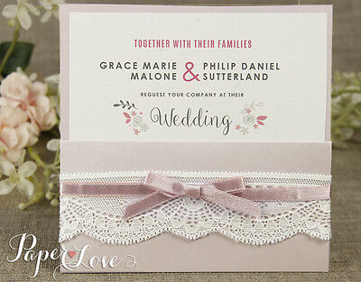Personalised Wedding Day/ Evening Invitations With Envelopes