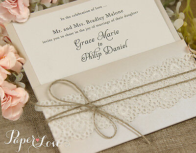 50 Wedding Personalised Invitations Cards Sample Rustic with Free Envelopes