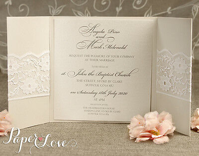 Personalised Wedding Invitations & Evening Invites Handmade - Lace Vintage