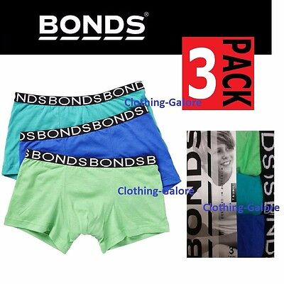 Boys Bonds Kids Underwear 3 Pack Trunk Brief Boyleg Shorts Green Blue Black Size