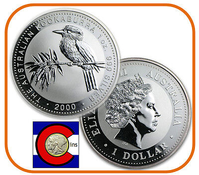 2000 Australia Kookaburra 1 oz. Silver Coin - BU direct from Perth Mint roll