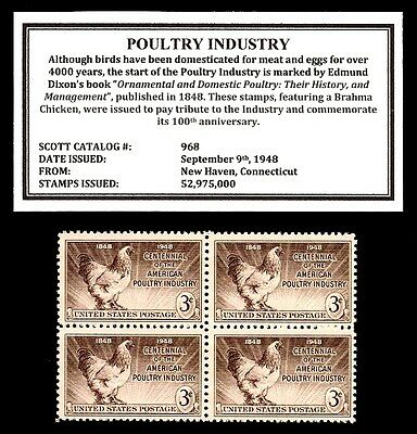 1948 - POULTRY (BRAHMA CHICKEN) - Mint, Never Hinged, Block of Vintage Stamps