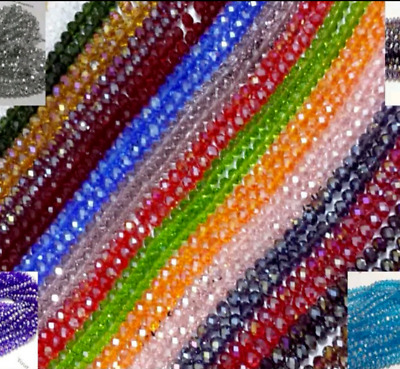 100 Faceted Rondelle Crystal Glass Beads 55 COLOUR 4x6mm FREE P&P Loose beads