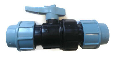 1/4 Turn Stop Valve Alkathene / MDPE Compression  Fitting for Blue Water