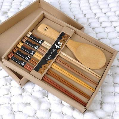 New 6 kinds of Natural Wood Chopsticks Spoon Set Handmade Japanese Gift Packing