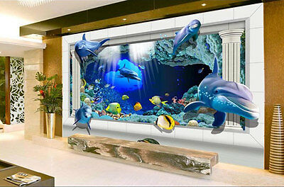 3D Dolphin Underwater Para Full Wall Mural Photo Wallpaper Print Paper Home Deco