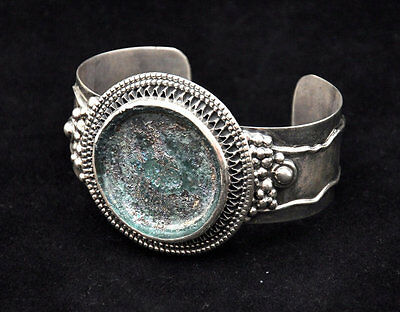 Roman Glass Antique Huge Stone Bracelet Sterling Silver 925 W/Certificate