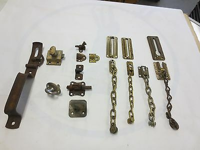 Vintage Group of Latches, Slide Bolts & Security Chain Door Hardware Gate latch
