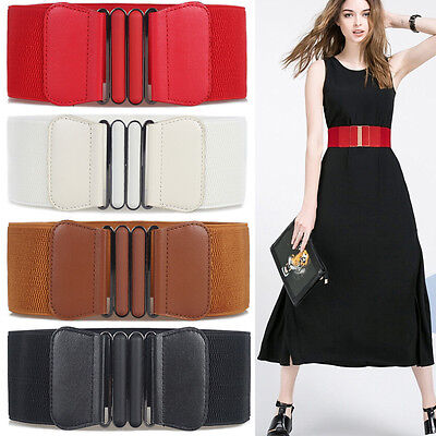 Womens Ladies Faux Leather Wide Belts Buckle Stretch Elastic Thin Waist Belt