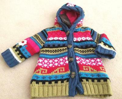 CATIMINI Baby Girls 6m (6-12m) COTTON/ANGORA BLEND PATTERN HOODED CARDIGAN NWT