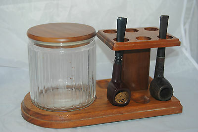 Vintage 50's solid Walnut 6 pipe stand w/ clear ribbed glass lidded Humidor