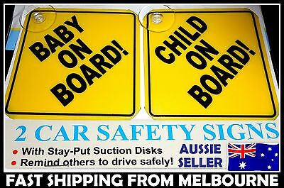 1x Baby On Board & 1x Child On Board Decal Sign Window Safe Suction Hard Plastic