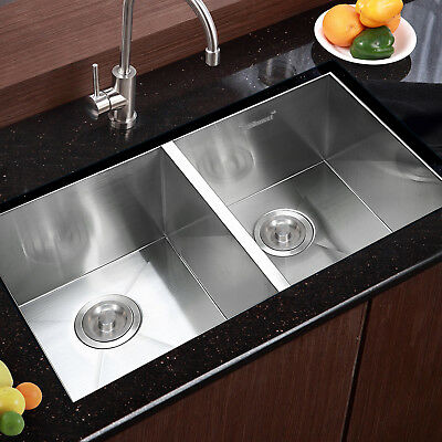 "30""x18"" Commercial Stainless Steel Kitchen Sink Double Bowl Undermount 19 Gauge"