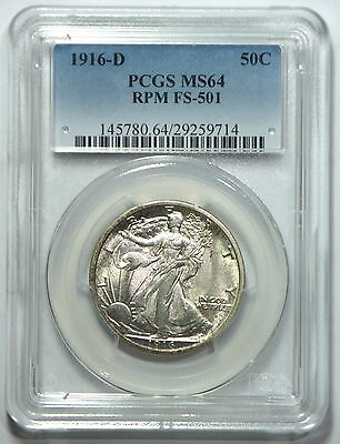 1916-D/D FS-501 Walking Liberty Half - PCGS MS64 – Only two graded higher!