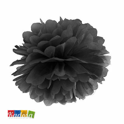 Pom Pom di Carta NERO 25cm - Decorazioni Tissue Party Matrimonio Halloween Festa