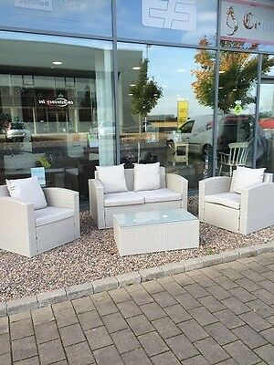 Grey 4pc Rattan Garden Furniture Set Sofa Chairs Table Outdoor Conservatory New