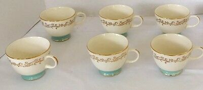 6 Footed Cups Gold Crown Laughlin Aqua Blue Rockabilly 1950's