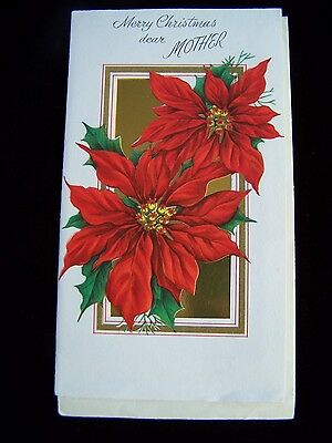 Vintage MOTHER Christmas Card Die-cut Gatto POINSETTIAS GOLD FOIL UNUSED wEnv