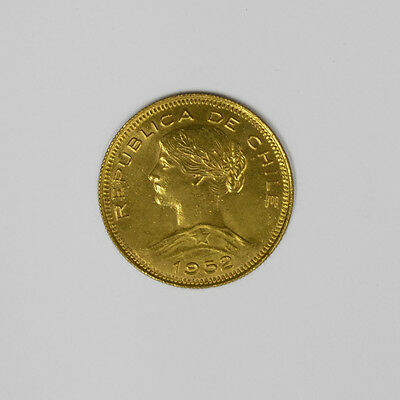 1952 Chile 100 Pesos Gold. Circulated. Low Mintage