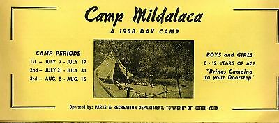 Old CAMP MILDALACA 1958 DAY CAMP info / registration fold-out form NORTH YORK