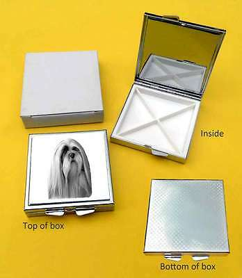 Lhasa Apso Dog Polished Metal Square Pill Box Gift