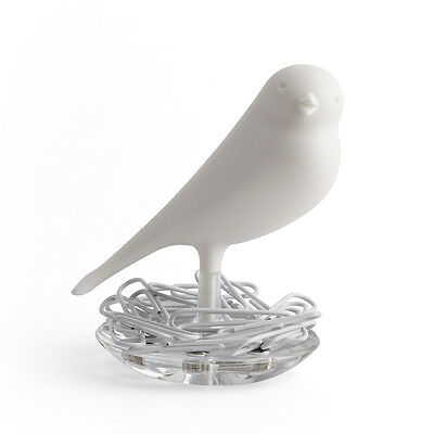 QUALY Sparrow Nest Paperclip Holder White Magnetic Base Gift Idea Designer