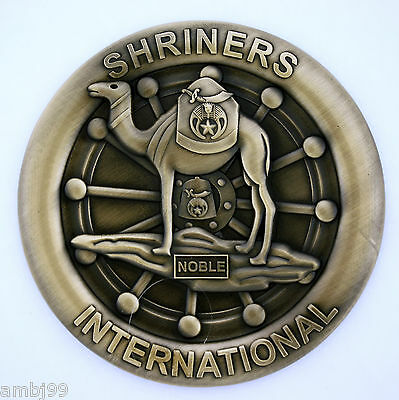 Brass colored  Shriners Antiqued Zinc Alloy Automobile Car Emblem Masonic Family