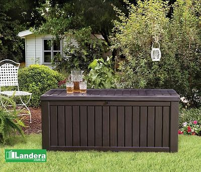 Keter Rockwood Storage Box BROWN 570 Litres of Outdoor Storage - storage bench