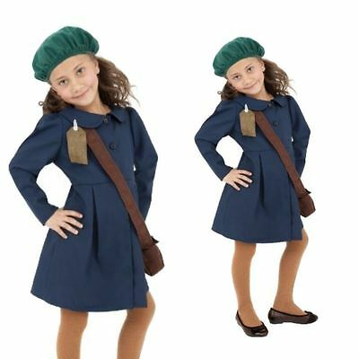 World War II Girls Child  Evacuee Book Day Week New Fancy Dress Costume Kids WW2