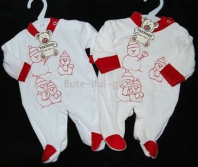 Baby's Snowman Christmas Sleepsuit Premature 3-5lb 5-8lb 8-12lbs *One Supplied*