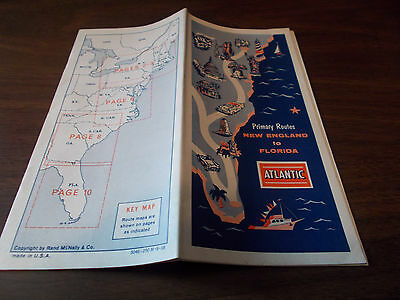 1958 Atlantic Primary Routes New England to Florida Vintage Road Map & Guidebook