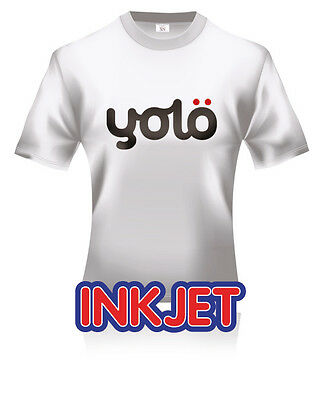 3x A4 yolö Inkjet T-Shirt Heat Transfer Paper for Light Coloured Fabrics