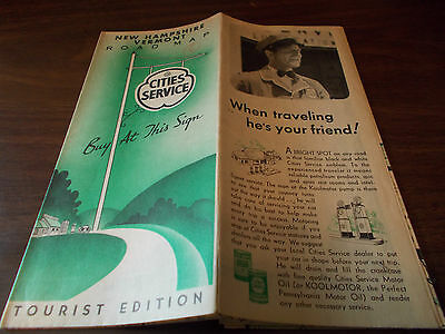 1936 Cities Service New Hampshire/Vermont Vintage Road Map