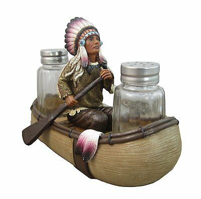 Native American Indian Trade Boat Chief Glass Salt and Pepper Set Figurine Decor