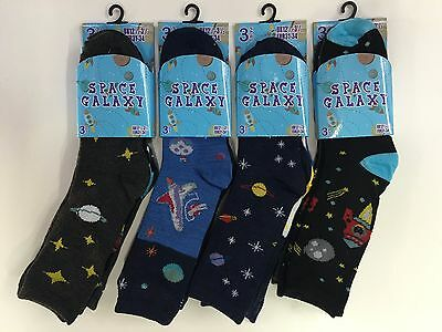 Kids Children Boys Designer Fashion Space Galaxy 6 Pairs Socks Soft Comfortable