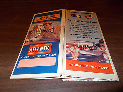 1952 Atlantic Philadelphia Vintage Road Map