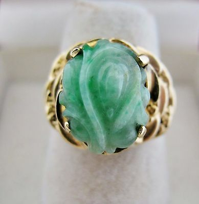 Vintage Chinese 14K Gold Ring w/ 13.3mm Carved Green JADEITE Jade (6.4g, size 6)