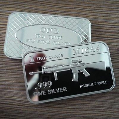 M16 Rifle / 1 Troy oz  .999 Fine Silver Bar Bullion / U.S. Military SB167