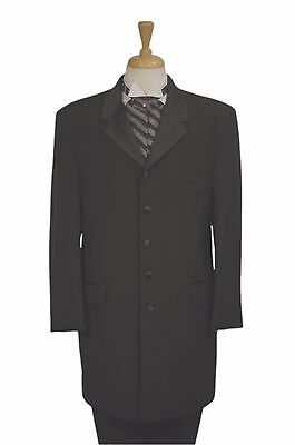 Men's - Claiborne 36/5 Black 3/4 Length Frock Tuxedo Coat - All Sizes