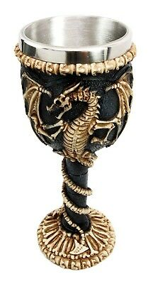 "Dragon Skeleton Ossuary Skull Theme Wine Drink Beverage Goblet Chalice Cup 7.5""H"