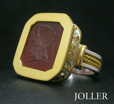 Handmade Signet Ring Bloodstone Octagon 18Kt Solid Gold & Silver 925 By Joller