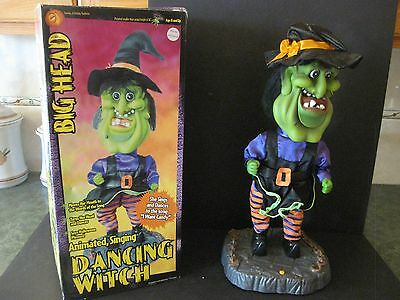 Gemmy 2002 Halloween Big Head Animated Motionette Singing Dancing Witch Fig 18""