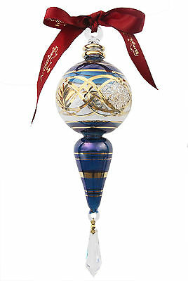Blown Glass Ornament handmade in Egypt Blue accented with Gold and crystal drops