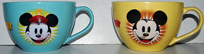 lot of 2 Disney Store Mickey Mouse & Minnie Mouse Soup Bowls /  Coffee Mugs