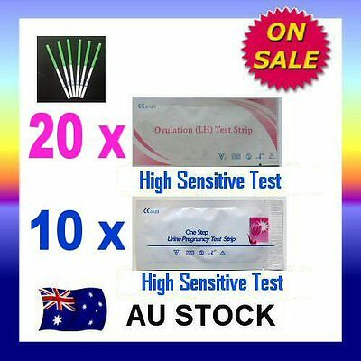 20 x Ovulation LH Test + 10 x Pregnancy hCG Test Strips Urine Fertility OPK Kit