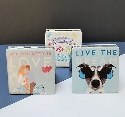 Handbag Make Up Compact Mirror Love Dog Travel Gift For Her Him Vintage