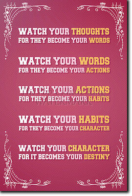 Watch Your Thoughts They Become Your Actions - Motivational Poster Classic Quote